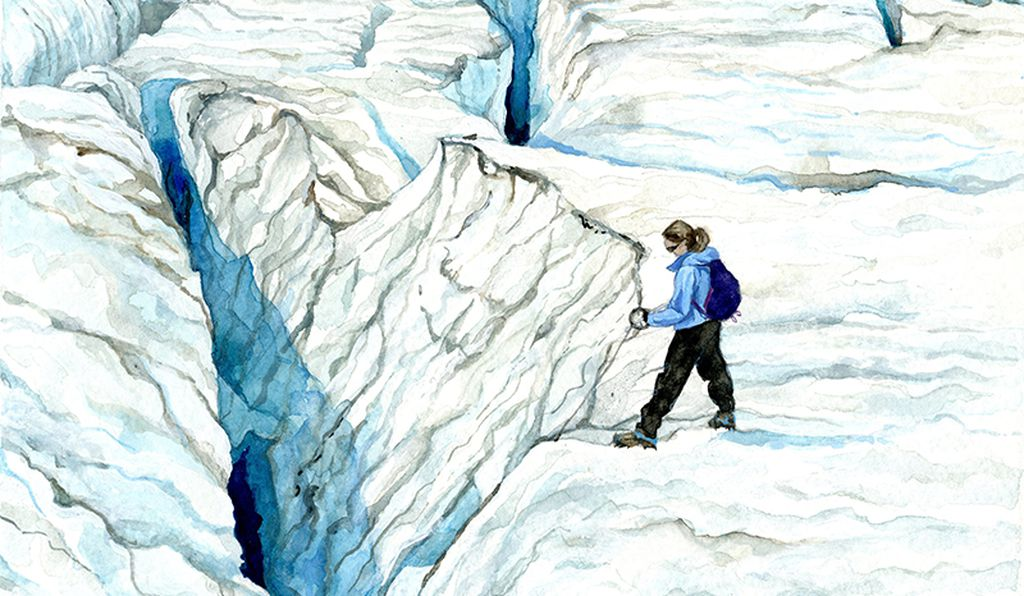 """Pelto features in her own work in <em>Measuring Crevasse Depth</em>. She says: """"I received funding from the Center for Undergraduate Research to purchase equipment that helps me measure crevasse dimensions. In the watercolor, I am using a cam-line measuring tape, designed to find the depth of a crevasse. These measurements have allowed me to study the variance in crevasse size across a glacier, and analyze their changes over time."""""""