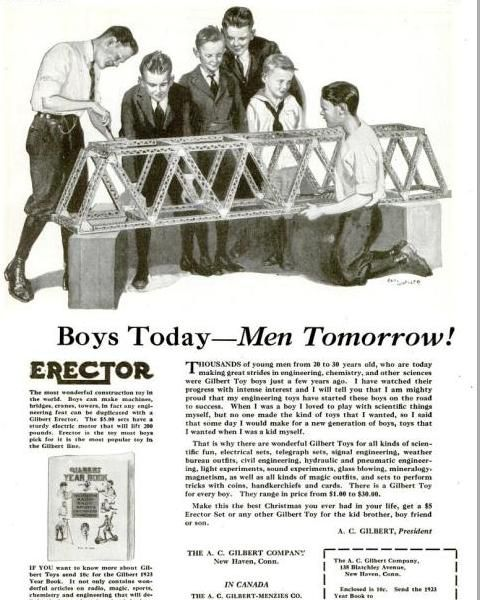 Print advertisement for Erector Set, circa 1922