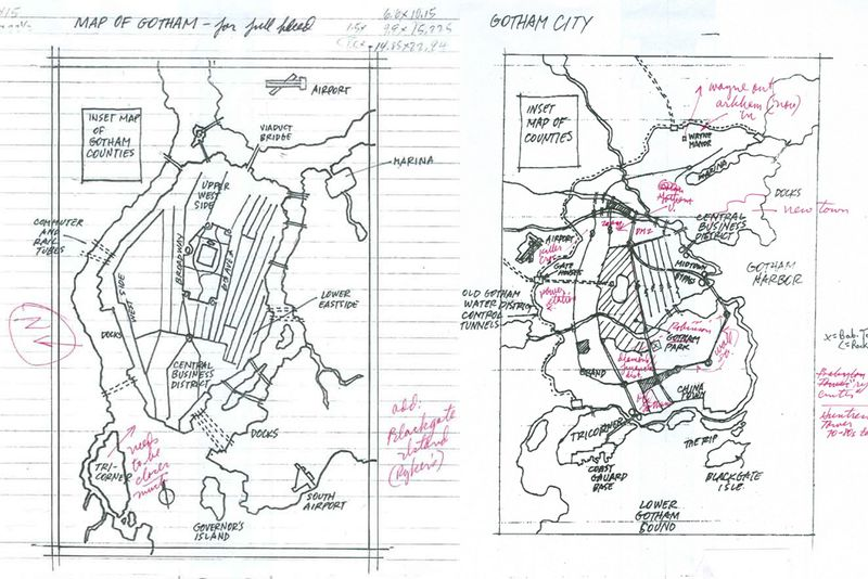 Early development drawings for the map of Gotham, courtesy Eliot R. Brown