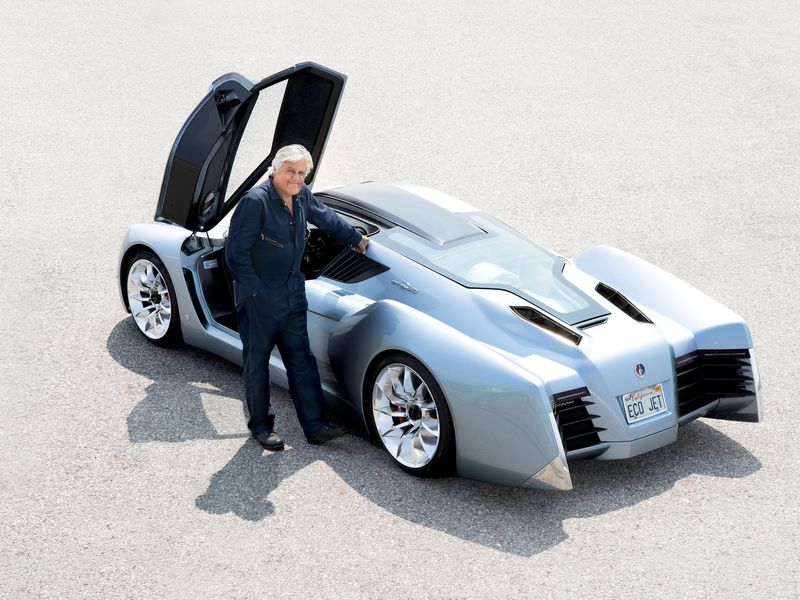 Jay Leno poses with his EcoJet