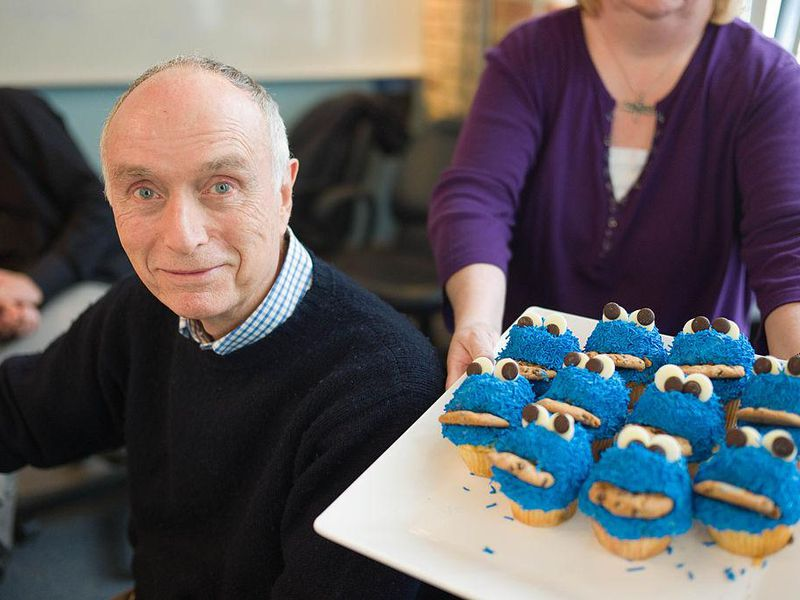 Lloyd Morrisett and his birthday cupcakes