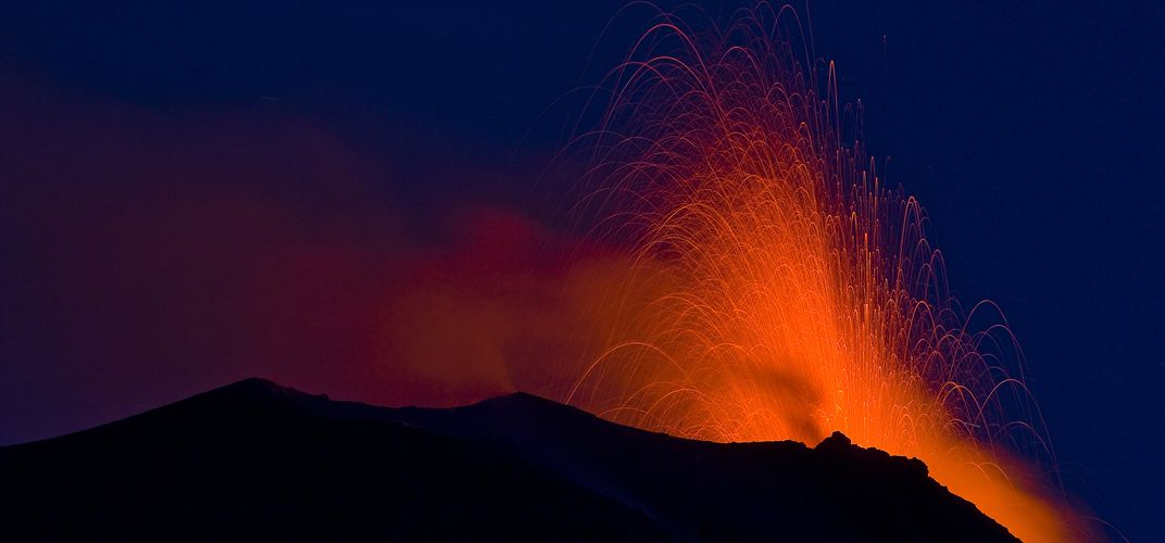 The light display of the erupting volcano of Stromboli