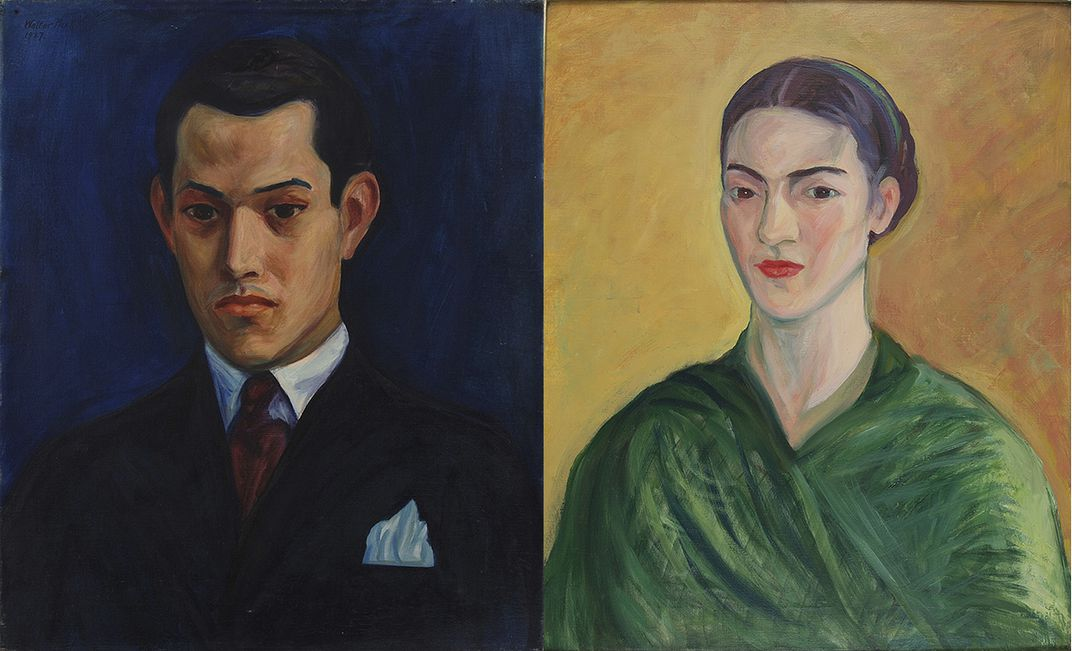 Portraits of Rufino Tamayo and Frida Kahlo by Walter Pach.