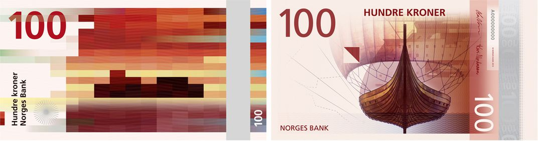 Norway's new 100 krone note will look something like this. Left: Snøhetta's design for the reverse face. Right: the Metric System's design for the obverse face.