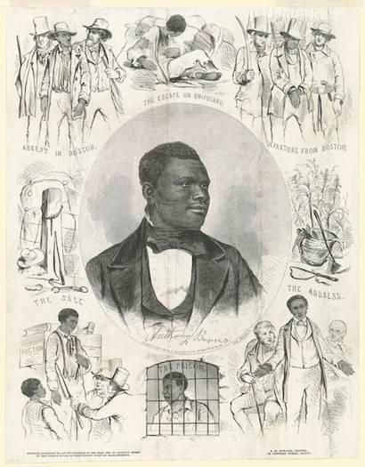 A print created in Boston in the 1850s showing Anthony Burns and scenes from his life