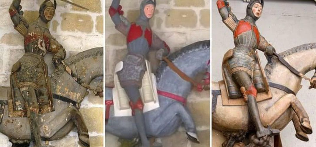 Caption: St. George Statue Undergoes 'Unrestoration'