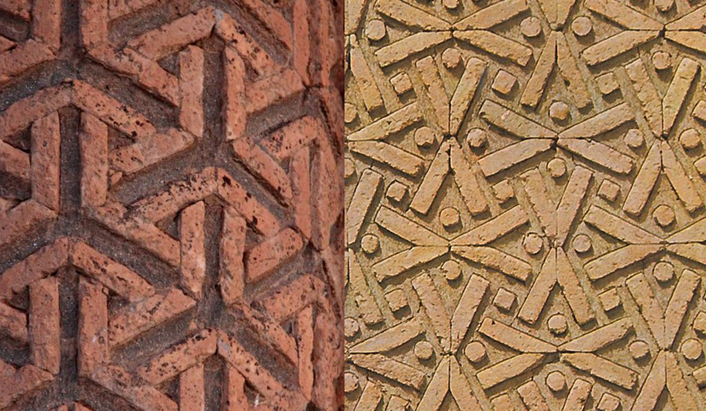 Two patterns found on Iran's 1,000-year-old Karraqan tomb towers.