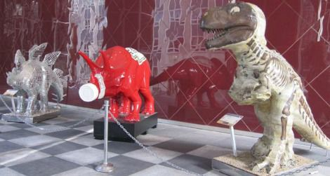A trio of Pittsburgh dinosaurs - from the left, Philiposaurus, Ketchupsaurus, Mr. Dig