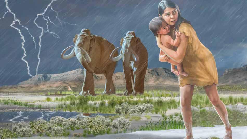 Ice age mother and child art