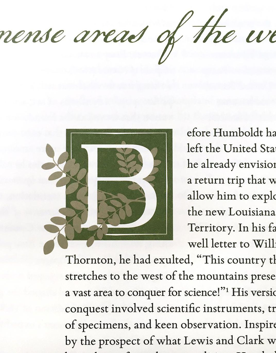 A close up photo of the design of the first letter in the chapter.
