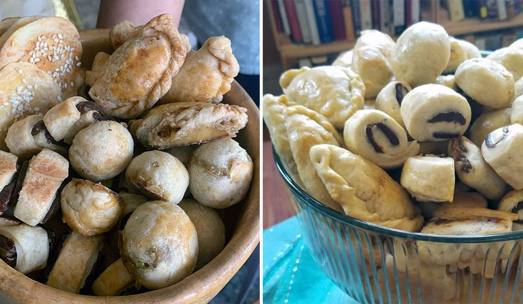For side-by-side comparison, on the left are the kleicha as they have been made traditionally by Aida Roncales Tenedero, the Filipino housekeeper of the El Mutwalli family, and those prepared by the Smithsonian's Kathy Phung.