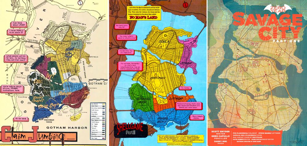 Left two images: Eliot R. Brown's map of Gotham City, as it appeared in comics circa 1999; right image: Brown's map appearing in a recent issue of Batman