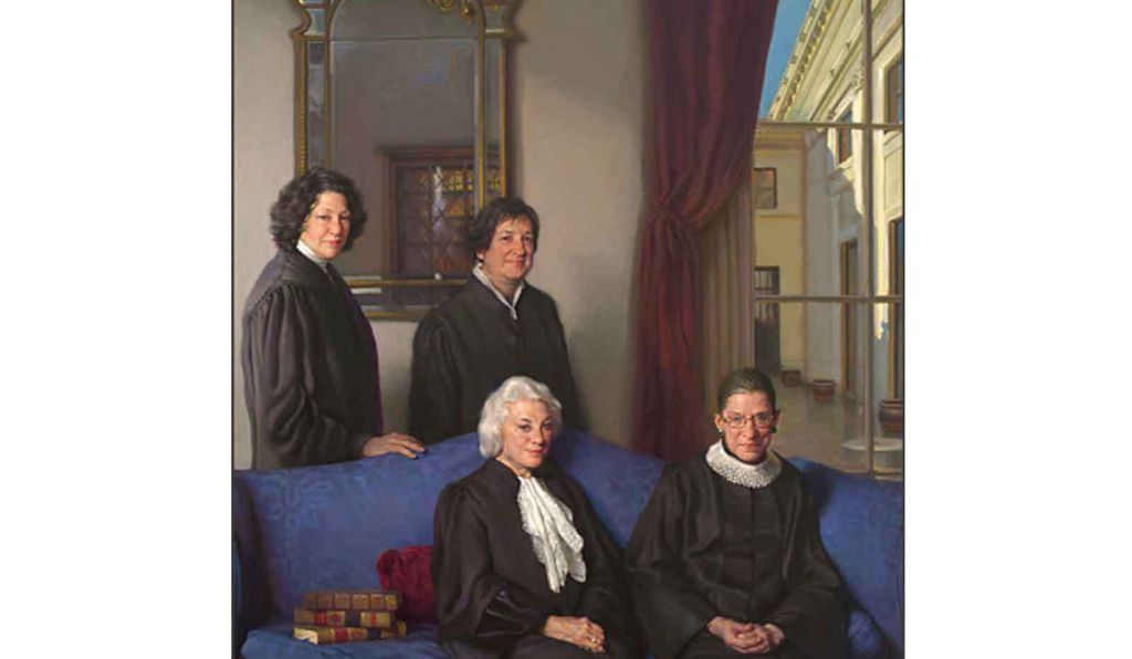 Nelson Shanks' 2012 <em>The Four Justices</em> memorializes the first four women to serve on the United States Supreme Court. Clockwise from top left: Sonia Sotomayor; Elena Kagan; Ruth Bader Ginsburg and Sandra Day O'Connor.