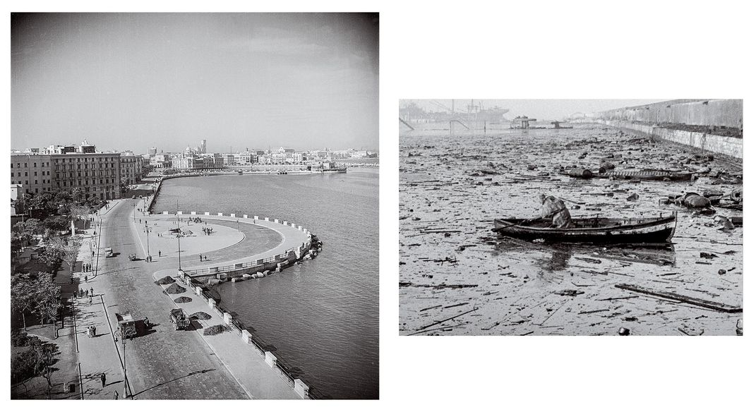 Left, Bari, on Italy's southeastern coast, in November 1943. The British had captured the strategic port city two months earlier. Right, a rescue boat searches for survivors in Bari Harbor after the December 1943 attack. Fuel from damaged freighters and a