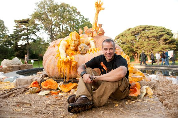 Ray Villafane and one of his pumpkin sculptures from 2011.