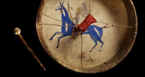 A Lakota painted drum