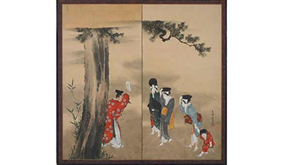 A Shinto Priest, Three Women and a Child, Edo period, c. 1799-1801
