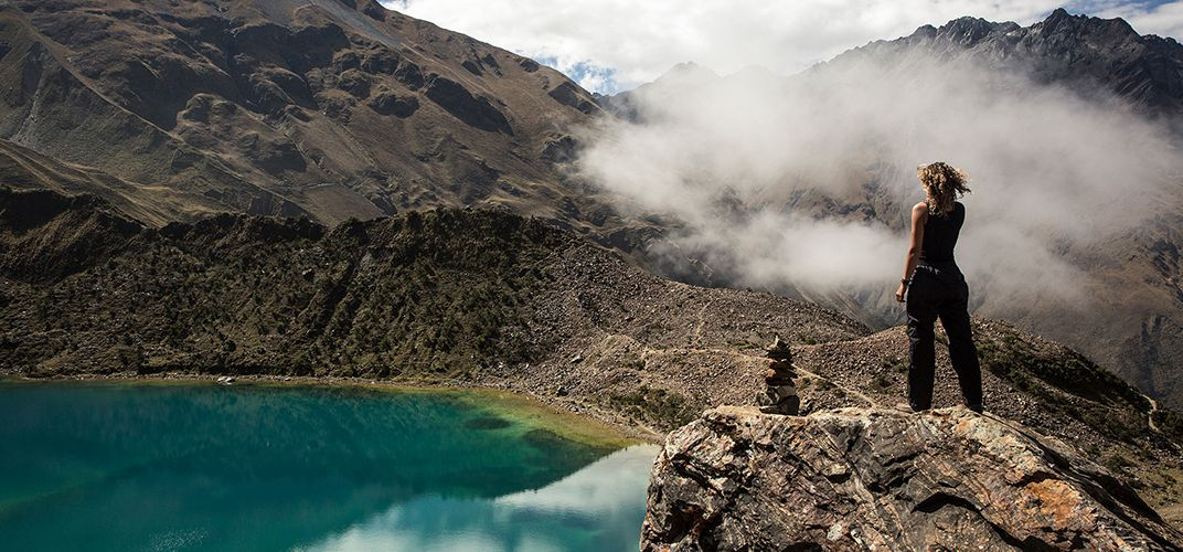 Looking out on a lake in the Andes