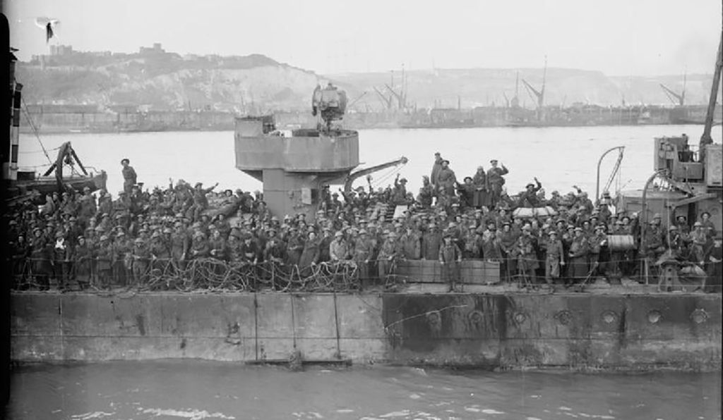 A crowd of troops on deck one of the destroyers that participated in Operation Dynamo.