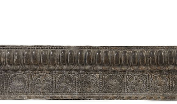 Lateral Stretcher from the Base of a Funerary Couch with Sogdian Musicians and a Dancer, Period of Division, Northern Qi dynasty, 550-577