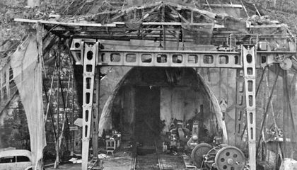 One of the entrances to the underground tunnels of the Mittelwerk, as photographed by the U.S. Army after the liberation in April 1945.