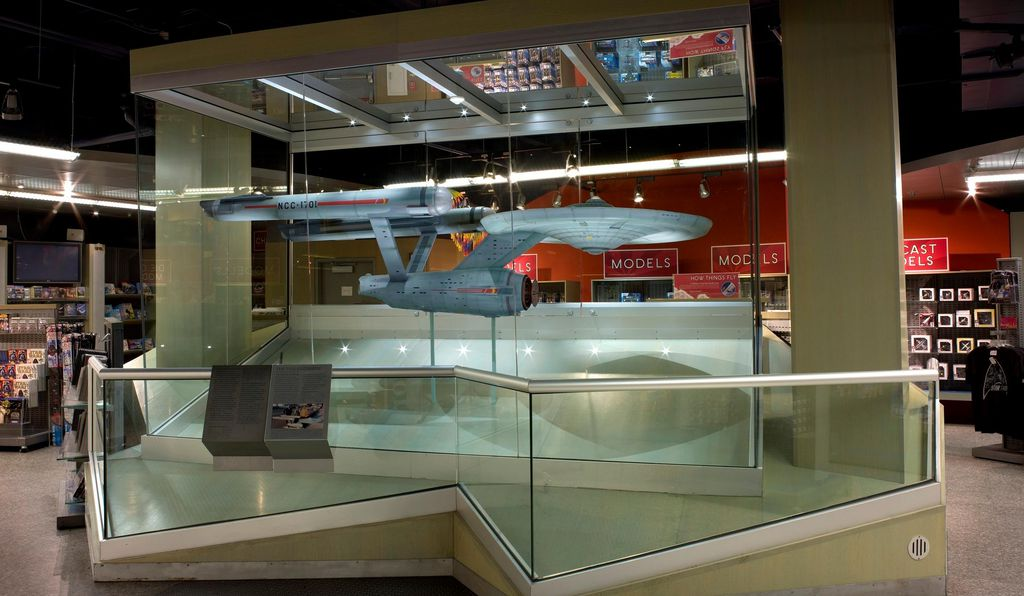 The <em>Enterprise</em> studio model spent most of the years 2000-2014 on display in the basement of the museum's gift shop.