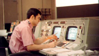 Mission Control on the eve of the first moon launch
