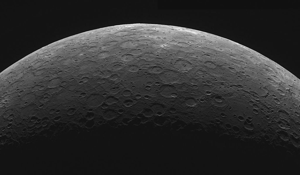 A mosaic of two images of Mercury's southern hemisphere limb taken by the MESSENGER spacecraft in 2012.