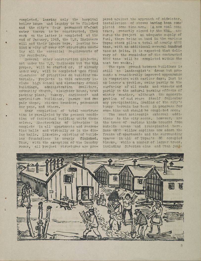 Page from Trek magazine created at the Topaz War Relocation Center