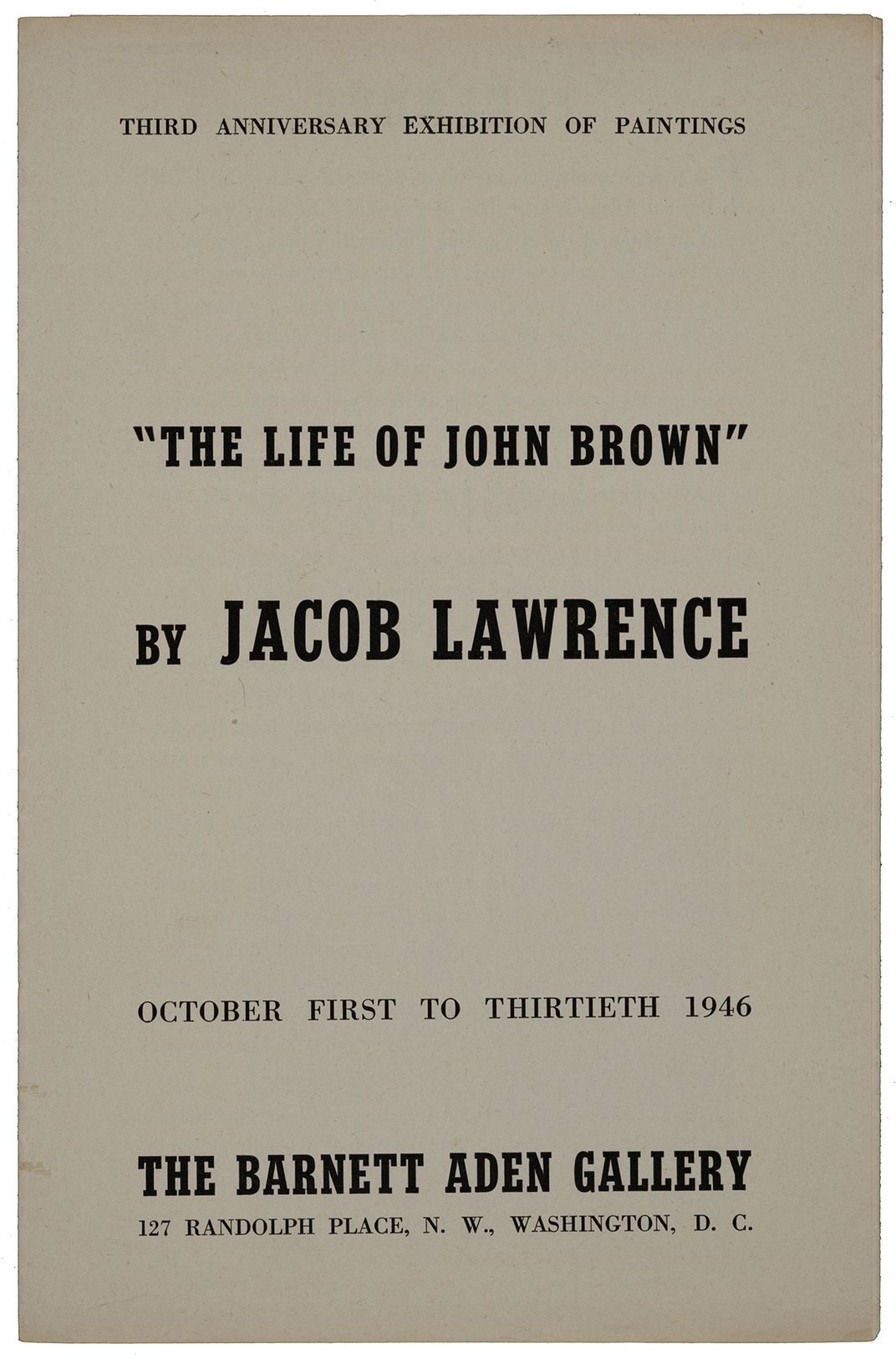 "Exhibition catalog for ""The Life of John Brown"" by Jacob Lawrence"