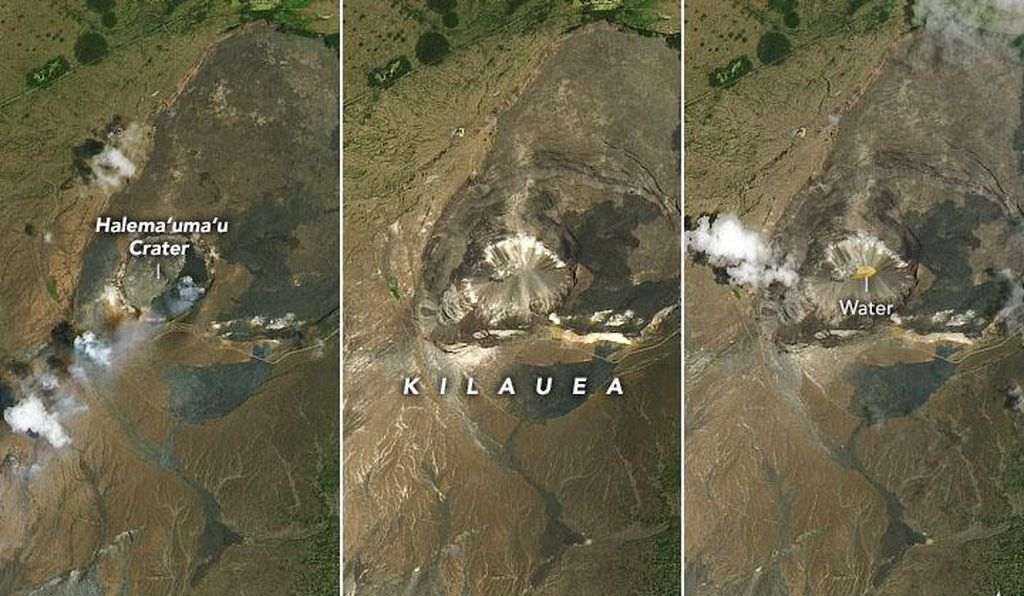 Satellite photos show the Halema'uma'u crater before the lava lake drained (left), after the caldera floor collapsed (middle), and after water pooled in the crater for nine months (right).