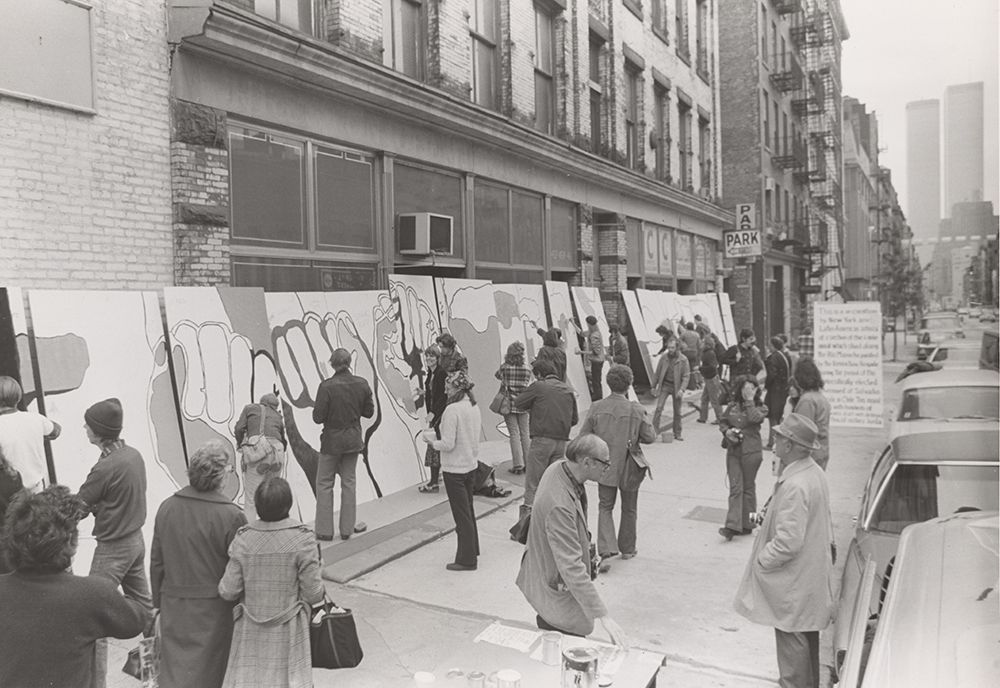 Image showing an art action recreating a Brigada Ramona Parra mural in New York City in 1973