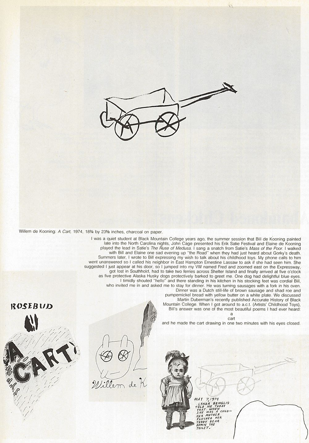 """Page from Ray Johnson's article """"Abandoned Chickens"""" in the November to December 1974 issue of Art in America"""