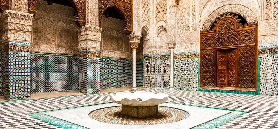 Courtyard of a madrassah in Fez