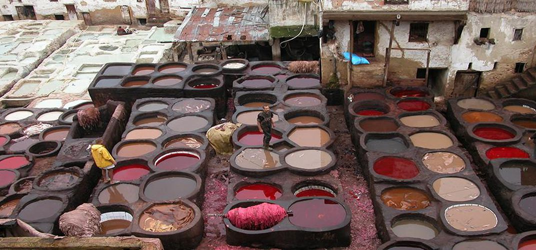A leather tannery in Fez