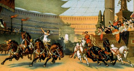 A Roman chariot race