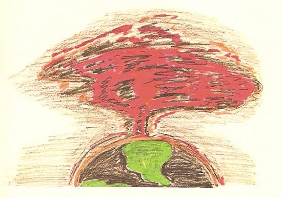 Tina Kambitsis imagines the mushroom cloud apocalypse, wiping out all life on Earth