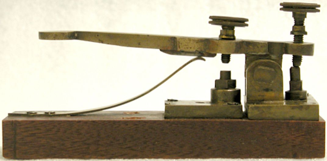 This is a replica of an early telegraph key used by Morse and Vail.