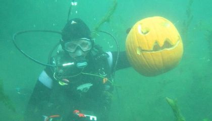 Underwater Pumpkin Carving Among the Wrecks in New York's Finger Lakes
