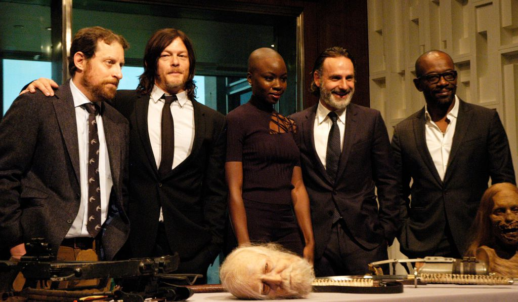 From left to right: executive producer and show runner Scott Gimple, actor Norman Reedus, actor Danai Gurira, actor Andrew Lincoln and actor Lennie James.