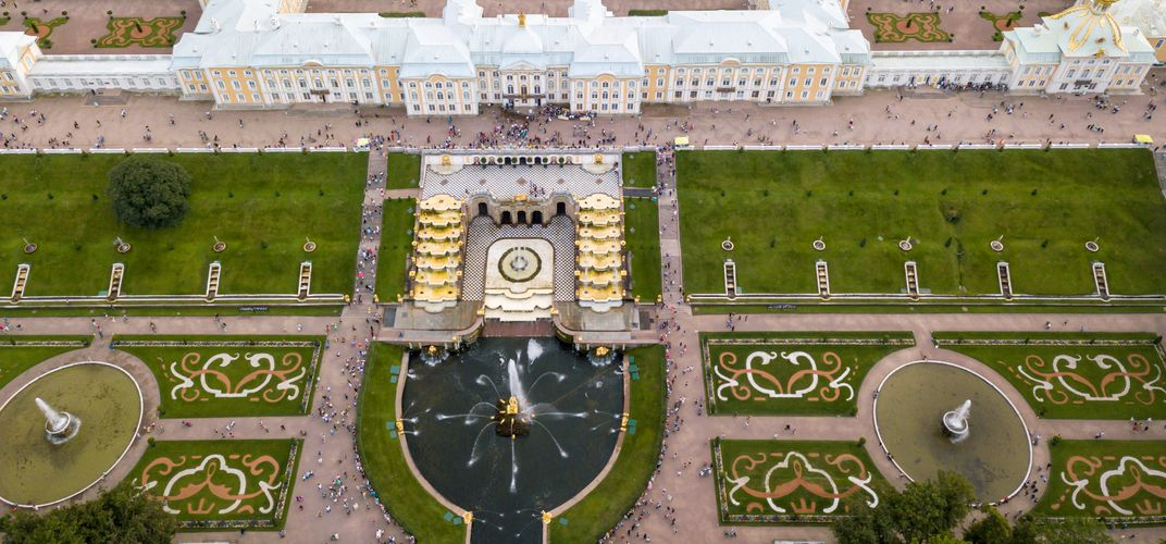 An aerial view of Peterhof, outside St. Petersburg, shows just a small section of the expansive gardens that surround the palace.