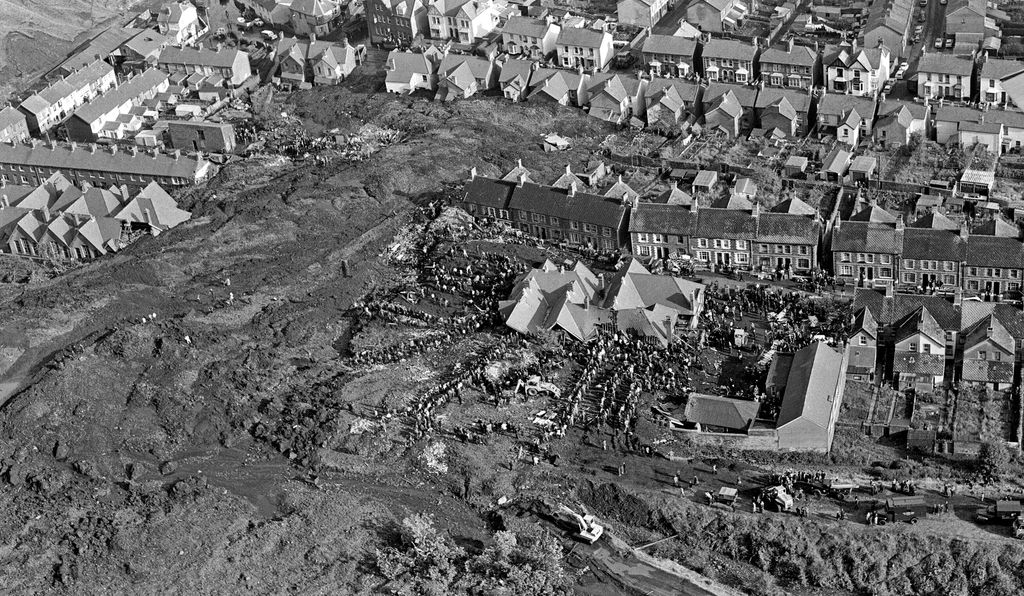 Aerial picture, taken from a plane, shows the town of Aberfan and aftermath of the slurry slide