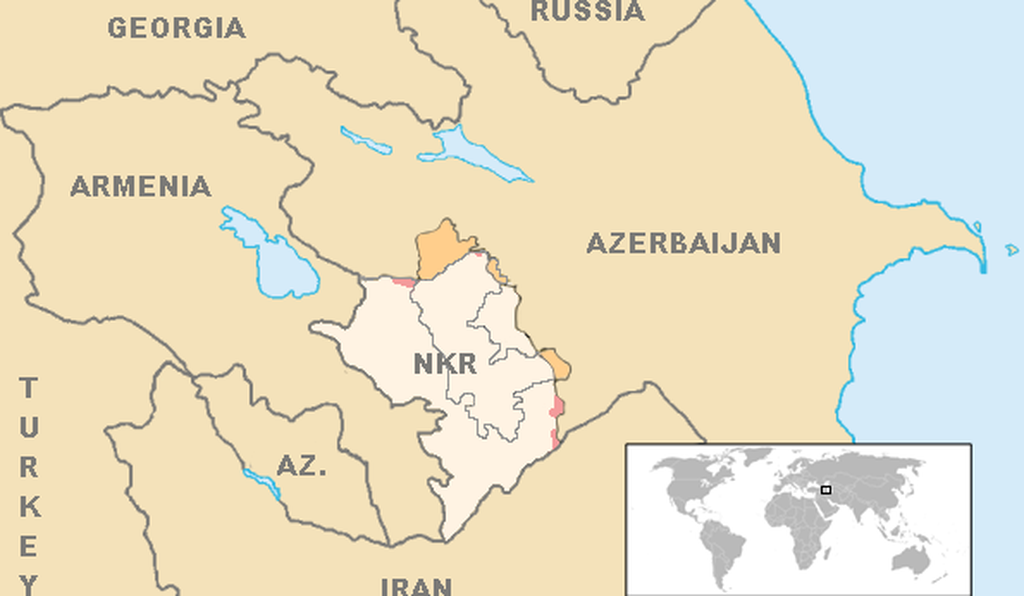 This map shows Nagorno-Karabakh's location in relation to Armenia and Azerbaijan as of October 2020.