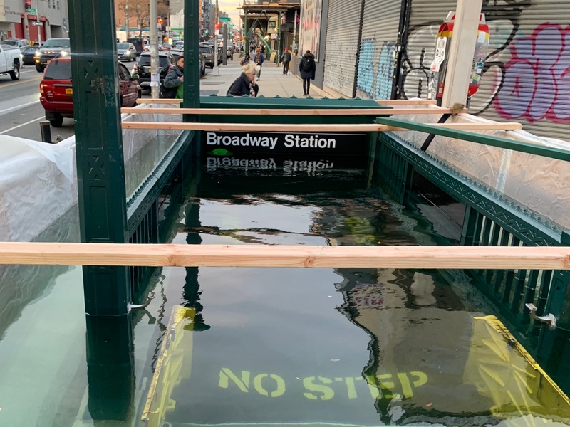 NYC subway station flooded