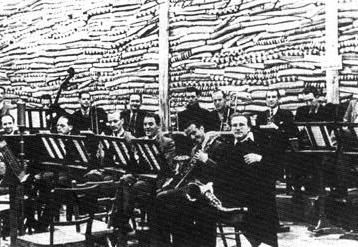 Members of Charlie and His Orchestra practice in 1942. Their base was then a mattress factory.