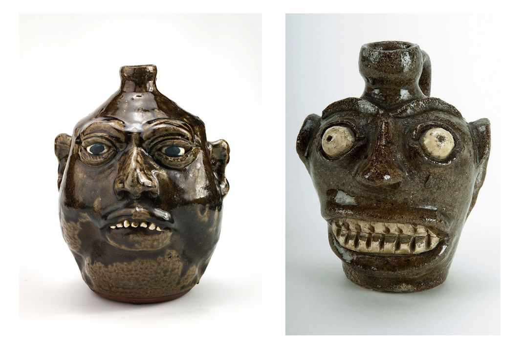 Left: Glazed ceramic jug in the likeness of a human face, with dark skin and white eyes and teeth. The nose, ears, and brow are protruding. Right: Glazed ceramic jug in the likeness of a human face, with dark skin and white eyes and teeth.