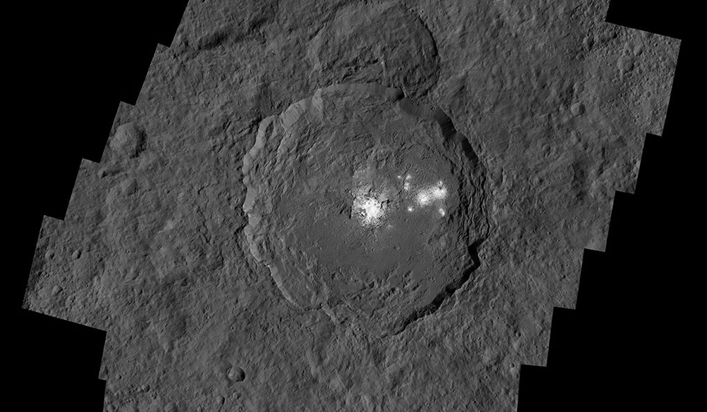 The Occator Crater contains the brightest area on Ceres.