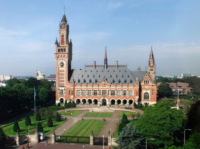 The Peace Palace in The Hague, Netherlands, which is the seat of the International Court of Justice.