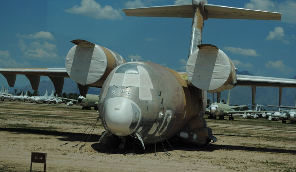 With blown flaps (due to engine exhaust directed across the wing surface) the Boeing YC-14 promised high performance delivery of troops, cargo, or equipment in austere combat zones. That concept ultimately became operational in the later C-17 Globemaster III.