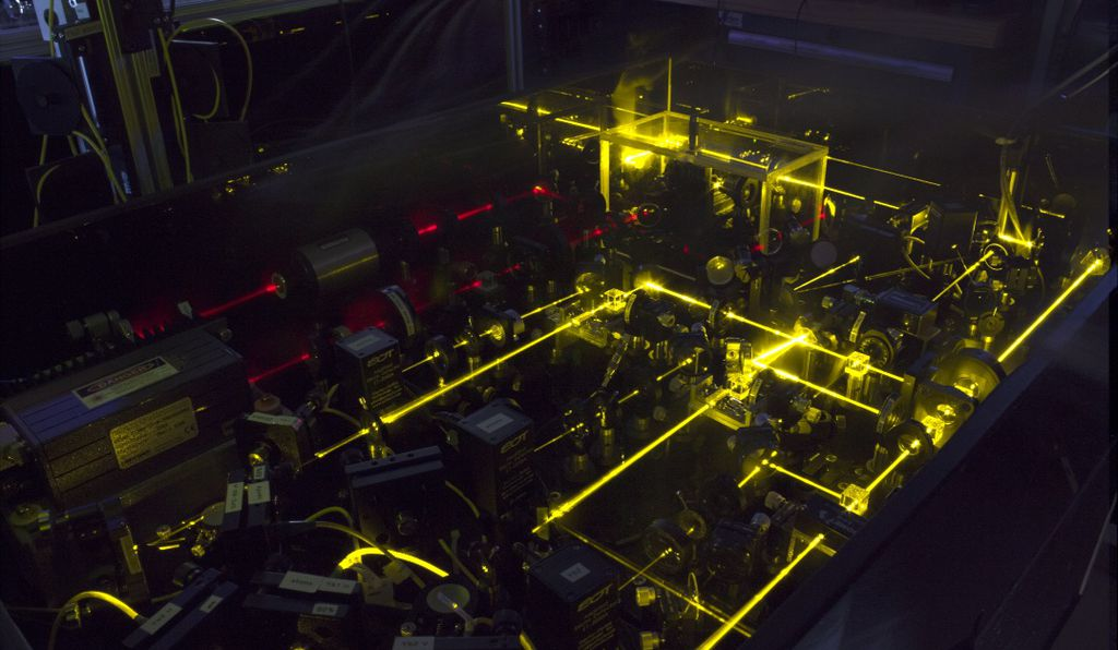 The yellow lasers of one of NIST's ytterbium optical lattice clocks.